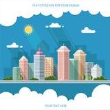 Ландшафт - иллюстрация городского пейзажа лета дизайн города, метро Стоковое Изображение
