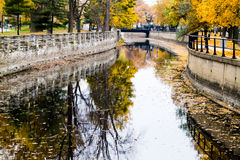 Ландшафт канала Монреаля Lachine осени Стоковое Изображение RF