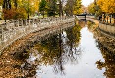 Ландшафт канала Монреаля Lachine осени Стоковая Фотография