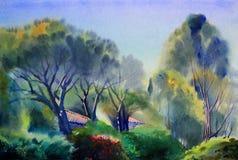 Ландшафт картины акварели Стоковая Фотография