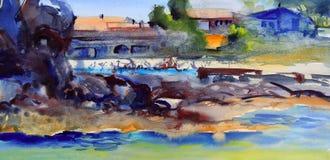 Ландшафт картины акварели Стоковые Изображения RF