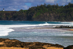 Ландшафт Кауаи пляжа, Гаваи Стоковое Фото