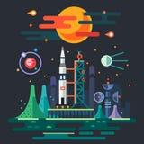 Ландшафт космоса, старт ракеты бесплатная иллюстрация