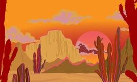 Ландшафт ЛЕТА Ландшафт в красных тонах Пустыня с кактусами, убийственное солнце иллюстрация вектора