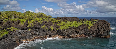 Ландшафт Мауи Гаваи тропический на пляже отработанной формовочной смеси Стоковые Фото