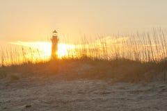 Ландшафт маяка захода солнца Стоковая Фотография RF