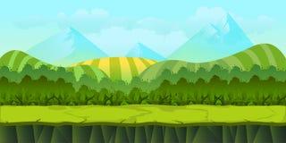 Ландшафт милого шаржа безшовный с отделенными слоями иллюстрация штока