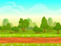 Ландшафт милого шаржа безшовный Стоковые Фотографии RF