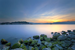Ландшафт моря захода солнца Стоковое Фото