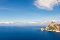 Ландшафт моря на накидке Formentor, Майорке, Испании Стоковые Изображения