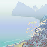 Ландшафт моря с горами Стоковые Фото