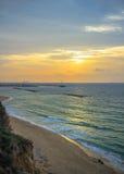 Ландшафт моря утра в Ashkelon, Израиле Стоковое фото RF