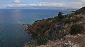 Ландшафт национального парка полуострова Akamas, Кипра сток-видео