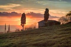 Ландшафт на заходе солнца в ` Orcia Val d, Тоскане - 4/10/2016 стоковые фотографии rf