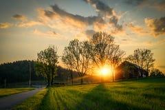 Ландшафт на заходе солнца Стоковое Изображение RF
