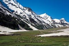 Ландшафт на пропуске на высоте в 3529 Zojila измеряет, шоссе Leh-Сринагара, Ladakh, Индия Стоковое фото RF