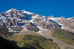Ландшафт на пропуске на высоте в 3529 Zojila измеряет, шоссе Leh-Сринагара, Ladakh, Индия Стоковые Изображения