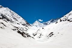 Ландшафт на пропуске на высоте в 3529 Zojila измеряет, шоссе Leh-Сринагара, Ladakh, Индия Стоковые Фото