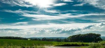 Ландшафт на солнце с полями и деревьями Стоковые Фото