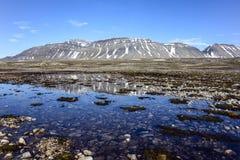 Ландшафт на Kapp Linne, радио Isfjord, Шпицбергене, Свальбарде Стоковое Изображение RF
