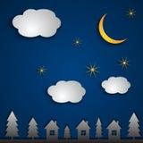 Ландшафт ночи вектора абстрактный иллюстрация штока
