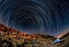 Ландшафт ночи в пустыня Негев стоковое изображение