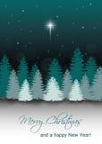 Ландшафт ночи зимы вектора с звездой Вифлеема Стоковые Фотографии RF