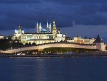 Ландшафт ночи Казани Кремля Стоковое Изображение