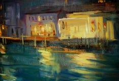 Ландшафт ночи к Венеции, крася Стоковая Фотография RF