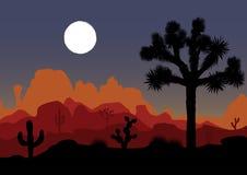 Ландшафт ночи с деревом и горами Иешуа также вектор иллюстрации притяжки corel Стоковые Изображения RF