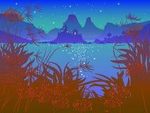 Ландшафт ночи с замком сказки Стоковое фото RF