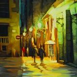 Ландшафт ночи с дождем в квартале Барселоны готическом, краске масла иллюстрация вектора