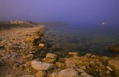 Ландшафт ночи с пляжем стоковая фотография rf