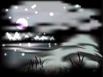 Ландшафт ночи с луной и горами Стоковое Изображение RF