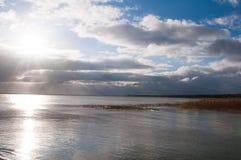 Ландшафт озера и тростников Стоковые Изображения RF