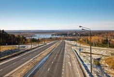 Ландшафт дороги в осени Стоковые Изображения