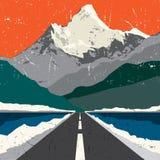 Ландшафт дороги гор Приключение внешнее, гора экспедиции иллюстрация вектора