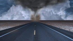 Ландшафт дороги пустыни воронки торнадо Стоковые Изображения RF