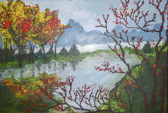 Ландшафт осени - акриловая картина стоковое фото rf