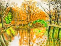 Ландшафт осени, рука нарисованное изображение Стоковые Изображения RF