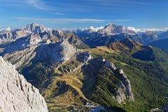 Ландшафт панорамы захода солнца горы - доломиты Стоковое Фото