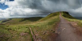 Ландшафт панорамы над Brecon светит национальный парк Стоковая Фотография RF