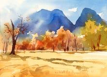 Ландшафт падения при деревья и покрашенная рука иллюстрации природы акварели гор Стоковая Фотография