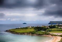 Ландшафт пляжа залива Daymer в Корнуэлл Великобритании Стоковое фото RF