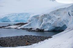 Ландшафт побережья на покрытом лед гористом острове Стоковое Фото