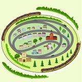 Ландшафт, поезда, автомобили, дома, деревья бесплатная иллюстрация