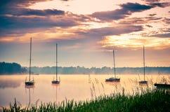 Ландшафт портового района утра весны Стоковая Фотография