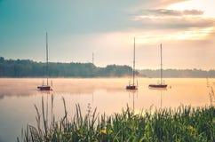 Ландшафт портового района утра весны Стоковые Изображения