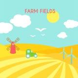 Ландшафт полей фермы Поле шаржа зеленое засева Стоковые Изображения