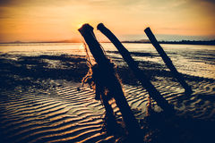 Ландшафт предпосылки захода солнца на пляже Стоковая Фотография